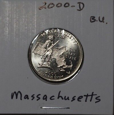 2000 d Massachusetts statehood quarter B.U. #3