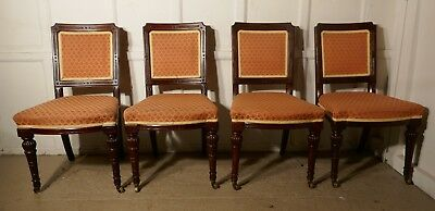 A Beautiful Set of 4 Early Victorian Mahogany Dining Chairs