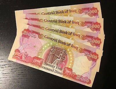 100,000 NEW IRAQI DINARS 4 x 25000 CRISP-UNCIRCULATED IQD - IRAQ MONEY - CBI
