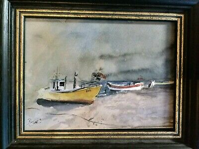 "Aquarell ""  Boote am Ostseestrand"""