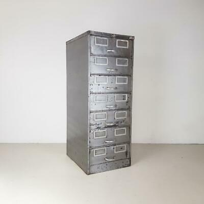 Vintage Industrial Stripped Metal Filing Cabinet Chest 7 Drawers Midcentury#2621