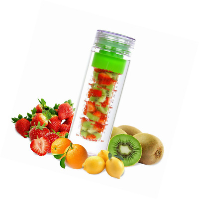 LA Organics Fruit Infuser Water Bottle 24 oz BPA Free Tritan Leak Proof Sport -