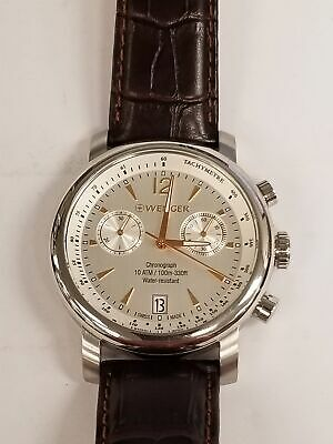 Wenger Urban Classic Silver Dial Leather Strap Men'S Watch 011043110