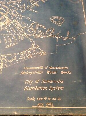 Somerville Ma Map Blueprint 1903 Water Works Distribution System