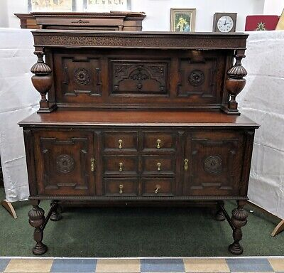 Victorian Ornately Carved Solid Oak Sideboard Fluted Legs & Columns With Drawers