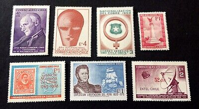 Chile - 7 old unused stamps