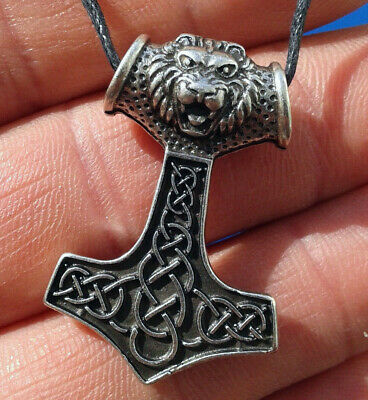 Vikings and Celtic Amulet Hammer of Thor Lion Head