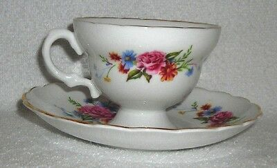 Vtg - Bone China Made In England Pink Rose w/Blue Floral Coffee/Tea Cup & Saucer