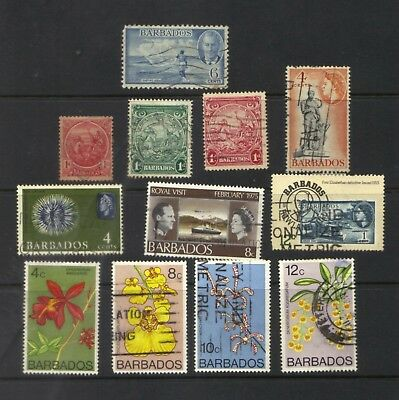Barbados Collection 12 Different Mostly Fine Used Hinged