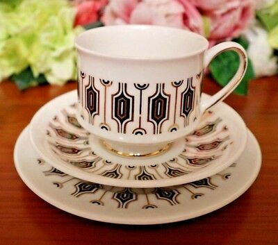 "Paragon Bone China Tea Set Trio White Black Gold Retro Pattern ""Symmetra"""