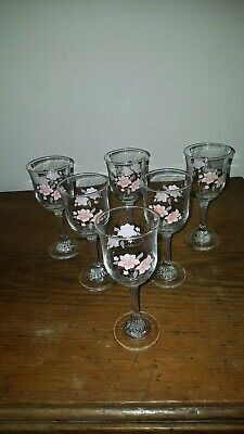 Princess House Or Fiesta Rose Garland Wine Glasses X 6