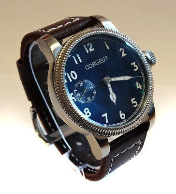 46mm PILOT's Hand Wind 6497 Aviator's Military Watch Classic Vintage Style Blue
