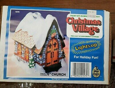 Vintage Wee Crafts Kit Christmas Village 6' Church, lights up, New,unpainted,