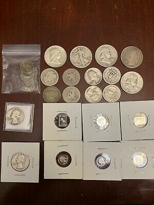 "Lot: $5.50 Face Value US 90% Silver Coins, ""Junk Silver"", Pre-1965, No Reserve!"