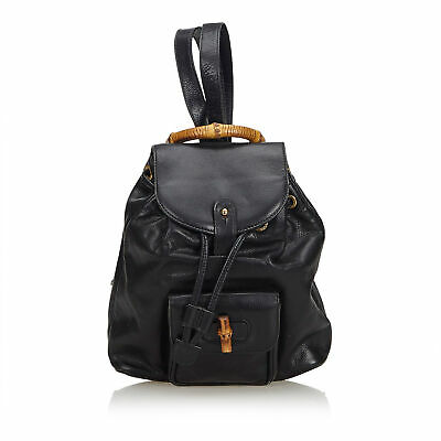 2021ee3b0977 AUTHENTIC GUCCI BLACK Bamboo Leather Drawstring Backpack Italy ...