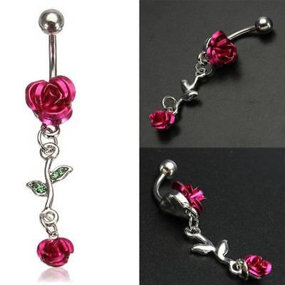 Stainless Steel Rose Red Flower Navel Belly Button Ring Body Piercing Jewelry