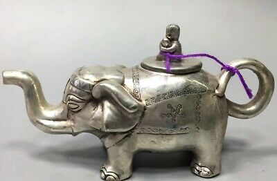 Chinese Collectable Handwork Miao Silver Carve Auspicious Elephant Rare Tea Pot