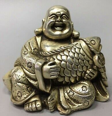 Tibet Miao Silver Carve Robe Smile Buddha Hug Fish Auspicious Collectable Statue