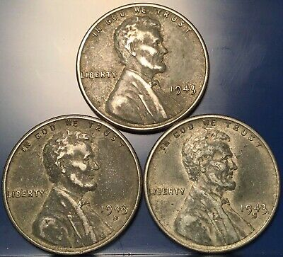 1943 P, D & S valuable Steel Lincoln Wheat Cent Set. Circulated. 3 Coins Total.