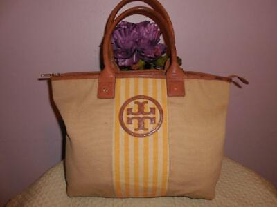 1b05a23f288 TORY BURCH JADEN Beige Canvas Leather Tote -  43.00