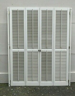 "52"" Tall X 40"" Wide VTG Colonial Wood Interior Louver Plantation Window Shutters"