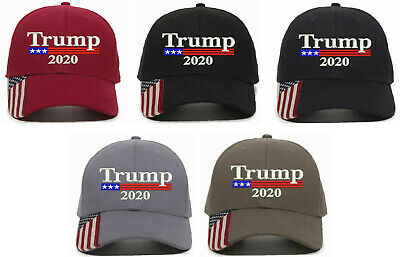 Trump 2020 Donald MAGA Trump for President USA 300 w/ Flag Brim Adjustable Hat