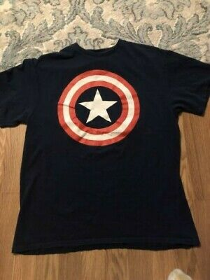 Captain America T-Shirt  Marvel Comics Official Classic Movie Tee Blue Large