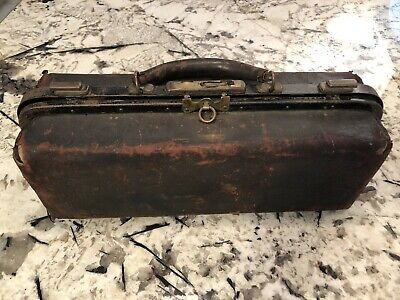 Antique Doctors bag with contents