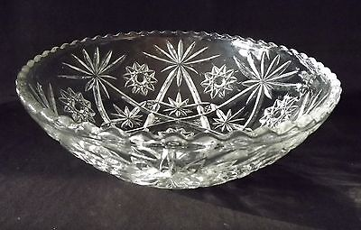 Anchor Hocking Star Fan Pattern 10 1/2 in. Salad  Serving Bowl EUC