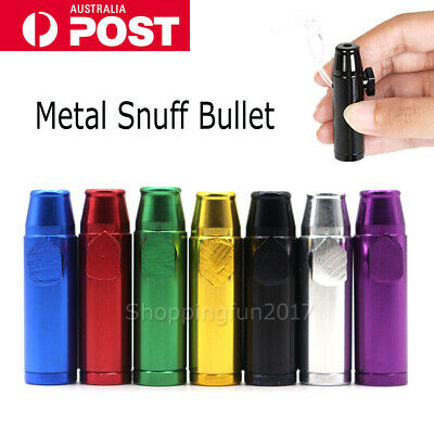 Snuff Metal Bullet Rocket Dispenser Snorter Snuffer Tube Vial AU