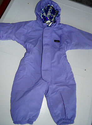 LL BEAN BABY GIRLS SNOW SUIT FLEECE LINED LAVENDER 6 to 12 Mos Hood L17
