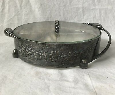 Vintage Art Deco Style Silver and Glass Divided Candy Nut Serving Dish