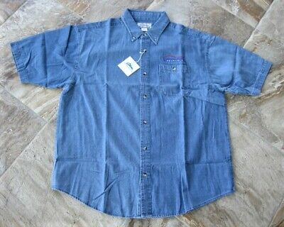 f427e44a1b6 NWT Tri-Mountain Scout 828 Stonewashed Denim SS Button Shirt Pocket Mens XL  Logo
