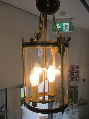 Vintage Art Deco French Bronze Lantern - rounded glass