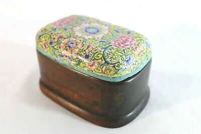 Chinese Antique Brass w Floral Painted Enamel Lidded Wood Powder Box