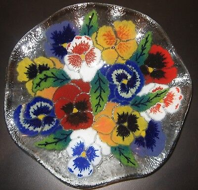 """Peggy Karr Home Décor Art Fused Glass Pansy Flower Fluted Bowl EUC! 8.25 x 1.25"""""""