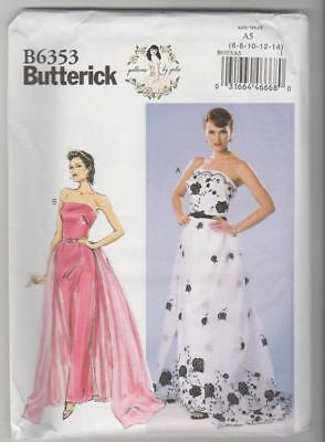 Butterick Sewing Pattern B6353 By Gertie Strapless Dress Detachable Train 6-14