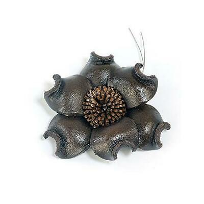 Hobby & Crafting Fun Real Leather Flower - 50mm Brown 1pc #8641