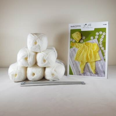 Baby Matinee Set and Blanket Knitting Kit White