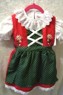 4 T,Girls,Kids Germany,German,Trachten,Oktoberfest,Dirndl Dress,3-pc.,Green,RED