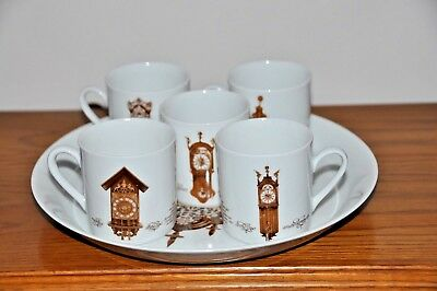 Mitierteich Porzelian Germany Dish Antique Clock China Plate With 5 Cups #1-5