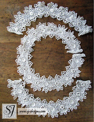 c1880 Victorian  Irish Crochet Collar with Matching Cuffs roses handmade lace