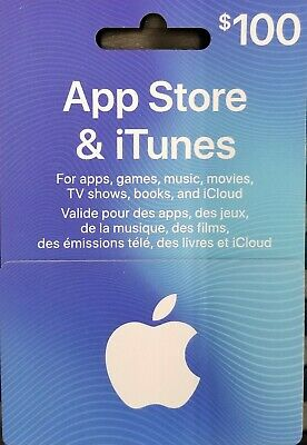 $100 Can. Apple App Store Itunes Gift Card Music Movie App Tv $100