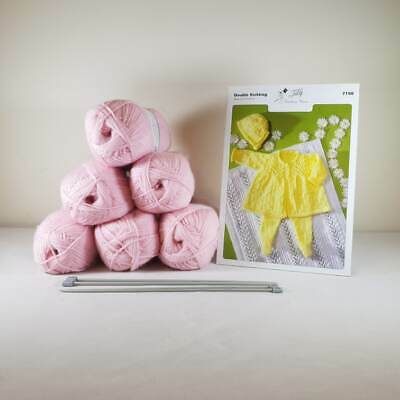 Baby Matinee Set and Blanket Knitting Kit Pink
