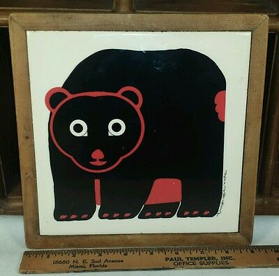 TAYLOR & NG Vtg Minimals BEAR Tile Trivet Hot Plate WALL Hanging Japan 1983