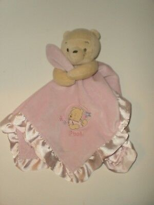 Disney Baby Pink Winnie The Pooh Security Blanket Rattle Satin Lovey Flowers