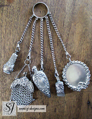 c1890 Sterling Silver Dance or Ring Chatelaine w 5 accessories & cigar cutter