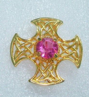 Celtic Scottish Pink Stone Brooch Pin 1 1/2 Inches