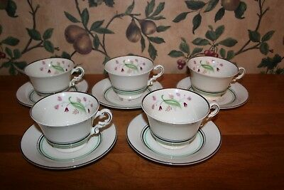 Vintage Syracuse Coralbel Old Ivory Fine China -Cups And Saucers-Set Of 5(Usa)
