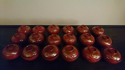 Set Of 18 Antique Japanese Lacquered Urushi Kaiseki Bowls Owan
